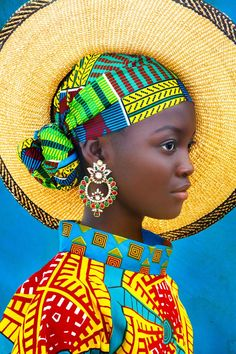Always Forward - - African girl in bright colorful headwrap and hat. African Girl, African Beauty, African Women, African Style, Women In Africa, African Hats, African Colors, African Children, African Design