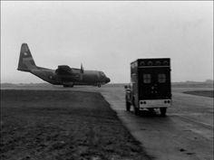 """""""Esperando el momento para cargar en el C130 a los heridos. El Hércules, como se ve, nunca apagaba los motores, por si había algún ataque""""."""