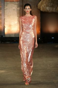 Christian Siriano NYFW Spring 2014: A Journey to the Island of Women  Pink Champagne Sequins Gown