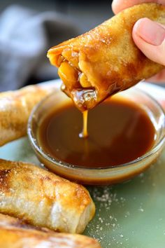 Delicious sweet treat of vegan apple pie egg rolls with a caramel dipping sauce!