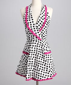 Take a look at this Black & White Dot Ruffle Apron by American Hostess on #zulily today!
