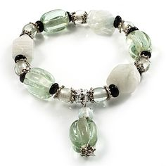 Pale Green & Milk White Resin & Glass Charm Flex Bracelet (Silver Tone) - main view