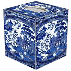 Personalize Your Home Office with Blue Willow from Marye-Kelley Blue Willow China, Blue And White China, Blue China, Love Blue, Blue Willow Decor, Tissue Box Covers, Tissue Boxes, Kelley Blue, Willow Pattern