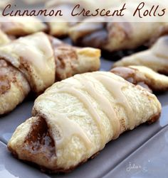 Yummy ---- Cinnamon Crescent Rolls ~ Easy treats for breakfast any day of the week! Mini Desserts, Just Desserts, Delicious Desserts, Yummy Food, Crescent Rolls, Crescent Roll Recipes, Crescent Dough, Breakfast Dishes, Breakfast Recipes