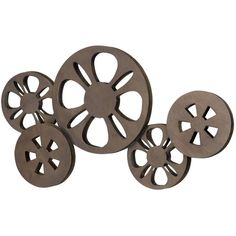 Benzara Antique Bronze Movie Reel Metal Wall Art (1.190 UYU) ❤ liked on Polyvore featuring home, home decor, wall art, brown, movie wall art, movie home decor, brown wall art, metal home decor and home wall decor