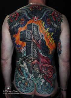 Awesome Rock of Ages back piece // Tradtional tattoos // Valerie Vargas Frith Street Tattoo in London. Back Tattoos For Guys, Full Back Tattoos, Sin Tattoo, Tattoo Blog, Weird Tattoos, Body Art Tattoos, Awesome Tattoos, Traditional Tattoo Jesus, Traditional Tattoos