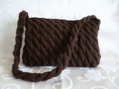 Handmade cable knit purse - espresso color. Ready to ship. VISIT AND BUY AT: http://www.etsy.com/listing/126123840/handmade-cable-knit-purse-espresso-color?ref=shop_home_active