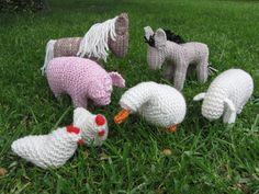 Knitted Farm Animals, Farmyard, Merino Yarn by mamma4earth on Etsy