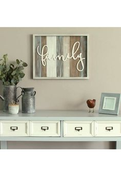 Bring style and charm to any room with this farmhouse wall hanging. #affiliatelink #family #farmhousedecor #wallhanging #livingroomdecor #housedecor #decor #rustic #rusticlivingroom