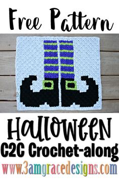Our Halloween crochet pattern & tutorial for a lap sized graphgan blanket. This week is the Witch Legs with her striped socks and pointy shoes. C2c Crochet, Tapestry Crochet, Crochet Chart, Crochet Home, Crochet Blanket Patterns, Baby Blanket Crochet, Free Crochet, Crotchet, Corner To Corner Crochet Pattern