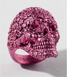 Pink skull flower ring