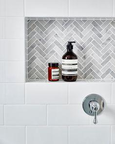 Grey Bathroom Renovation Ideas: bathroom remodel cost, bathroom ideas for small bathrooms, small bathroom design ideas Tile Shower Niche, Bathroom Niche, Bathroom Flooring, Bathroom Interior, Master Bathroom, Bathroom Ideas, Bathroom Marble, Basement Bathroom, Marble Interior