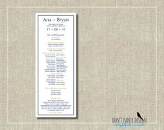 Modern Printable Wedding Program - Navy Blue and Gold - Custom Colors