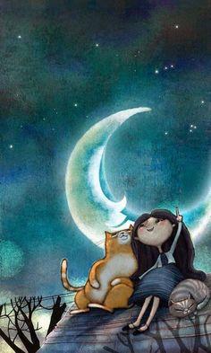Moonlit kitties, 2019 gatos, buenas noches ve ilustraciones. Art And Illustration, Illustrations, Cute Good Night, Good Night Images Cute, Good Night For Him, Good Night Gif, Good Night Sweet Dreams, Good Night Moon, Beautiful Moon