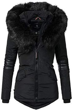 Navahoo Nirvana Veste d'hiver pour Dame avec Une Capuche en Fausse Fourrure Noire Noir XL Winter Outfits Women, Winter Coats Women, Coats For Women, Winter Jackets, Down Parka Women, Hooded Winter Coat, Cute Coats, Cold Weather Fashion, Womens Parka