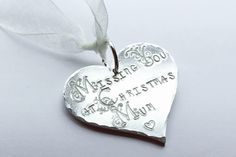Missing you at Christmas, missing you, miss you, Christmas tree decoration, Remembrance, Remembrance gift, uk seller, Norfolk, by EBMetalStampingCraft on Etsy https://www.etsy.com/uk/listing/559017529/missing-you-at-christmas-missing-you