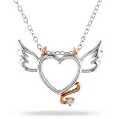 Winged Devil Two-Tone Heart Pendant With Sterling Silver Chain and Accent Diamond - Ice.com