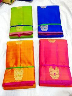 Borderless Kanchipuram Silk Sarees with different colour and combinations for more details contact us on 9686529640 Jute Silk Saree, Satin Saree, Soft Silk Sarees, Long Gown Dress, Saree Dress, Kanjivaram Sarees Silk, South Indian Wedding Saree, Bride Reception Dresses, Purple Saree