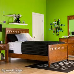 Make a bold statement with neon green like this bedroom. While this wall color may turn some heads in other rooms in the house, a kids bedroom is the perfect place to have fun with color.
