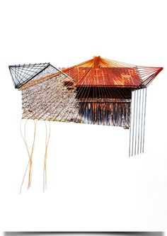 """Original hand threaded art work. Beautiful house with a dripping threads. Part of the """"Lonely house"""" series. Thread on fine-art canvas, acid free p..."""