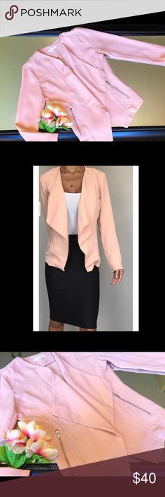 ELODIE blazer! ELODIE blazer/cardigan with zippers on the sides and flowing front. Color is a blush pink. Elodie Jackets & Coats Blazers
