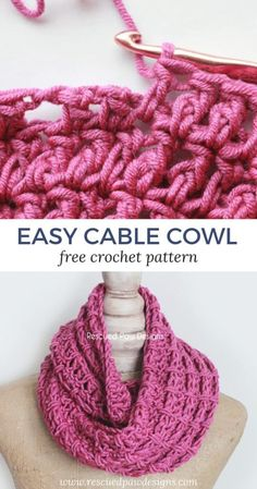 Easy Cable Cowl from Rescued Paw Designs Crochet - Make this simple cowl today with this free crochet pattern! #crochetcowl #crochetpattern #freecrochepattern #crochetscarf rescuedpawdesigns.com