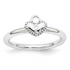 Heart Padlock Sign Stackable Ring In Sterling Silver Gemologica.com offers a large selection of stackable rings available in Sterling Silver, 10K, 14K and 18K yellow, rose and white gold. Our stack rings are available with all birthstones, gemstones and diamonds. Our selection includes stackable mothers rings and stackable wedding and engagement rings. Women's stacking jewelry can be found on our website here: www.gemologica.com/stackable-rings-c-27_243.html
