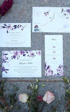 Una boda rústica con toque vintage. Invitación de boda floral. Dibujos en acuarela con flores de Sally Hambleton