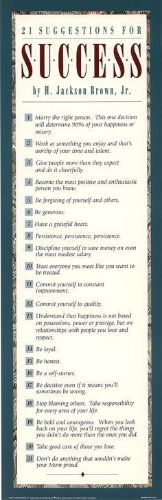 21 Suggestions for Success by H. Jackson Brown, Jr.