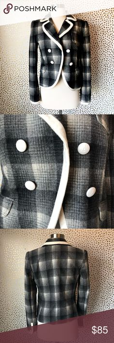 Adam Lippes Plaid Wool Piped Blazer So cute and perfect dressed up or down! Excellent pre owned condition! Grey and cream combo wool blend. White trim and buttons. Pocket detail. Size 4. No trades!! Adam by Adam Lippes Jackets & Coats Blazers