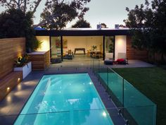 A contemporary pool house at the bottom of the garden! This versatile family space offers both living and dining spaces and a spacious, light filled bathroom Interior Designers Melbourne, Building Design, House Design, Spaces, Contemporary, Dining, Bathroom, Garden, Outdoor Decor