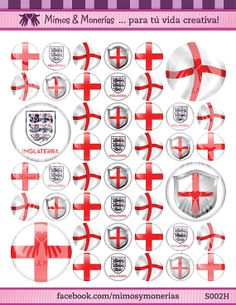 """England 2014 FIFA World Cup Flags - 1"""" Bottle Cap Images - Digital Collage Sheet 8.5x11"""" - Hair Bow Centers, Magnets - INSTANT DOWNLOAD"""