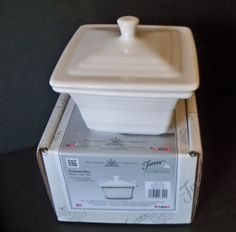 Fiesta® Dinnerware White Square Covered Box created exclusively for Belk by the Homer Laughlin China Company White Dinnerware, Ball Jars, Homer Laughlin, Covered Boxes, Canisters, China, Store, Ebay, Party