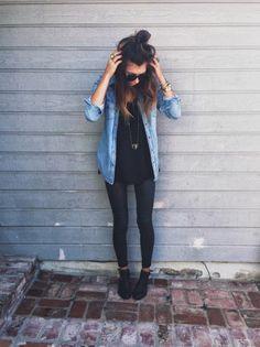Robe avec chemise en jean style chemise tenue classe avec un jean robe noire courte