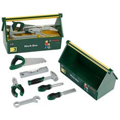 De gereedschapskist komt met een waterpas, zaag, vijl, tang, schroevendraaier en hamer. Geschikt voor kinderen vanaf 3 jaar. Afmeting: gereedschapskist 30,5 x 14 x 17 cm. - Bosch Gereedschapskist