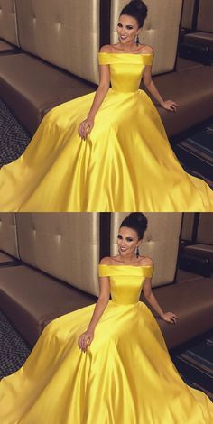 Off The Shoulder Long Satin Gold Prom Dresses Ball Gowns 2018