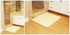 The Patricios-bloggaajan kotona intialainen matto pääsi osaksi kylpyhuoneen kokonaisuutta. Kannattaa kokeilla!