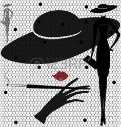 mujeres abstractas: sobre un fondo blanco en virtud de un extraño de mujer de contornos de velo negro