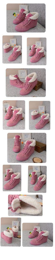 Женские сапоги прилив 2015 осенние Корейский студент две плоские туфли розовые ботинки снега теплые ботинки хлопка бархат - Taobao