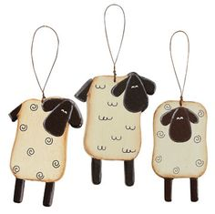 Wooden Sheep Ornaments - 3/set GR0418