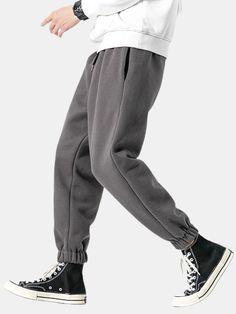 Men's New Stitching Plus Velvet Casual Sweatpants Loose Teth Sweatpants Outfit, Mens Sweatpants, Boys Pants, Men's Pants, Cargo Jeans, Type Of Pants, Drawstring Pants, Fashion Pants, Fashion Outfits