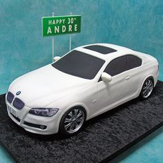 A car cake is a fun cake to make and a perfect cake for many ages. Here is the best car cake tutorial both fee and premium that you can use to help with your next car cake project. Bmw Torte, Rodjendanske Torte, 3d Cakes, Fondant Cakes, Fondant Bow, Fondant Flowers, Fondant Figures, Birthday For Him, Birthday Cake