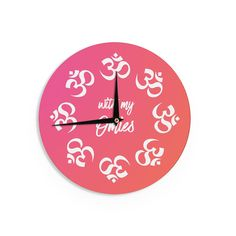 "KESS Original ""With My Omies Pink"" Coral Magenta Wall Clock"