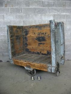 I'm seeing an incredible coffee table in your future. Vintage Industrial Chic Trolley | Second Use, Seattle: Building Materials, Salvage, & Deconstruction