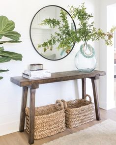 Pure Salt Interiors Costa Mesa Project Entry Way homedesign interiordesign entryway entrywaydecor entrywayideas greenery decor styling styleinspiration homedesign coastalliving coastalinspo Entryway Decor, Entryway Tables, Entryway Ideas, Entryway Furniture, Entrance Hall Decor, Entryway With Mirror, Country Entryway, Farmhouse Entryway Table, Hallway Table Decor