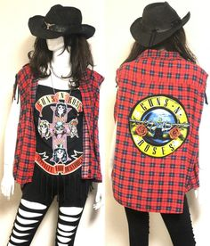 80s Hair Metal Band Costume Guns N Roses made from Vintage shrit (Unisex) #Handmade #Costume