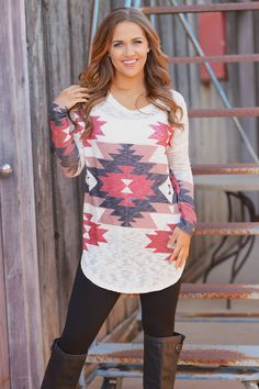 Swirling In The Autumn Breeze Tunic - Ivory from Closet Candy Boutique