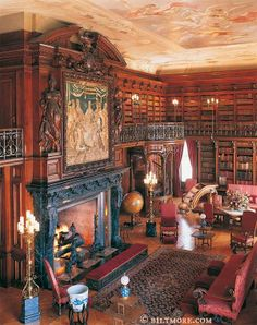 "BILTMORE ESTATE & Inn Library. Asheville, North Carolina, USA.  2005 Photo © The Biltmore Company.  ""George W Vanderbilt (1862-1914) was a great reader all of his life & he collected more than 22,000 volumes. Around 10,000 of them are in his Library, located on the first floor of Biltmore House."" Once the largest private residence in the USA, 250 rooms. Now open to the public.  To visit:  http://www.biltmore.com/visit/ More on GWV: http://nchistory.web.unc.edu/the-biltmore-estate/"