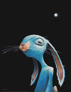 Blue rabbit glowing hope. By-Brett Superstar  Get a print here...  http://www.printsonwood.com/artists/brettsuperstar/blue-rabbit-glowing-hope-wood-print