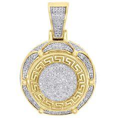 Fine 10k Gold Engravable Greek Key Oval-Shaped Charm Pendant Necklace